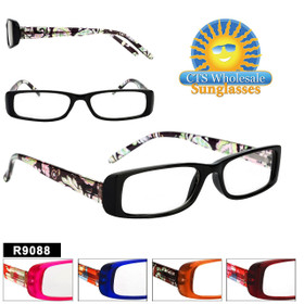 Bulk Reading Glassing - R9088 (12 pcs.) Assorted Colors ~ Lens Strengths +1.00—+3.50