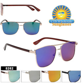 Mirrored Hipster Sunglasses - Style #8262 (Assorted Colors) (12 pcs.)