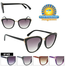 Retro Cat-Eye Sunglasses Wholesale - Style #6145 (Assorted Colors) (12 pcs.)
