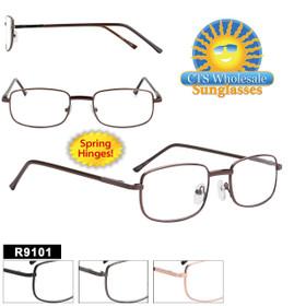 Bulk Metal Reading Glasses - R9101 Spring Hinges! (12 pcs.) Assorted Colors ~ Lens Strengths +1.00—+3.50