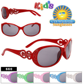 Wholesale Girl's Fashion Sunglasses - Style #660 Painted Faux Rhinestone Technique (Assorted Colors) (12 pcs.)