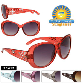 Rhinestone Flower Sunglasses 23413 (Assorted Colors) (12 pcs.)