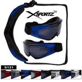 Wholesale Sport Goggles G121 Foam Padded Single Piece Lens (Assorted Colors) (12 pcs.)
