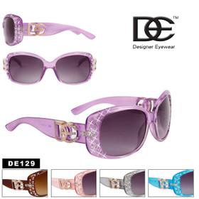 DE Designer Eyewear Rhinestone Sunglasses - Style #DE129 (Assorted Colors) (12 pcs.)
