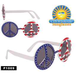 "Wholesale Party Glasses ~ ""Peace Sign Flag""  ~ P1009 (Assorted Colors) (12 pcs.)"