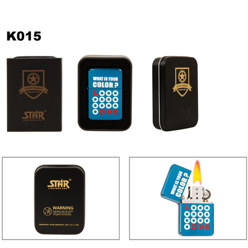 """""""What Color Is Your Love"""" Brass Lighter K015"""