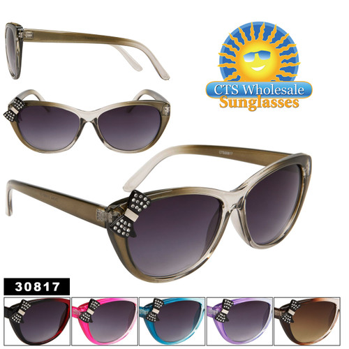 Vintage Cat Eye Sunglasses with Rhinestone Bows! 30817