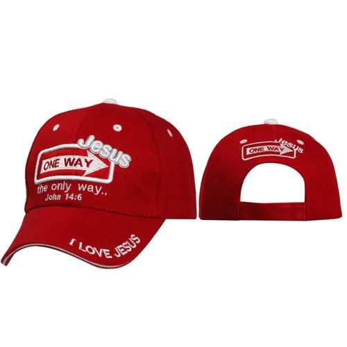 Christian Baseball Hats ~ One Way Jesus ~ Red