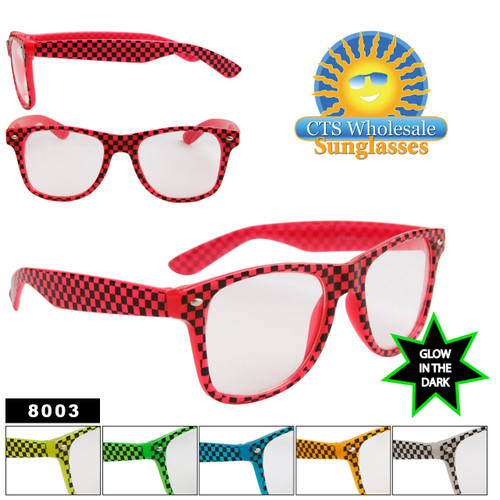 Glow in the Dark Sunglasses 8003 Checkered California Classics