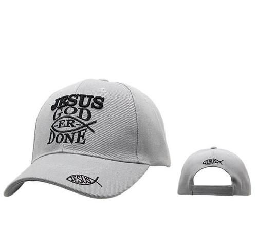 """Baseball Hat """"Jesus God-er Done""""- Grey C213"""