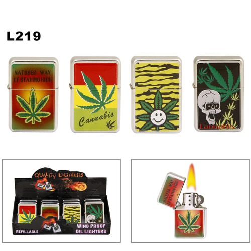 Wholesale Oil Lighters L219 Assorted Marijuana Graphics