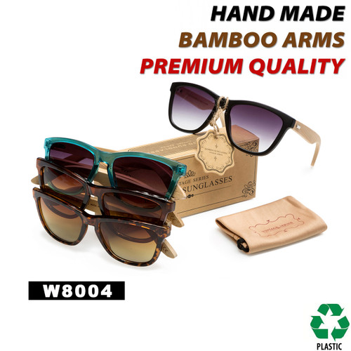 California Classics Bamboo Wood Temples - Style #W8004 (Assorted Colors) (12 pcs.)