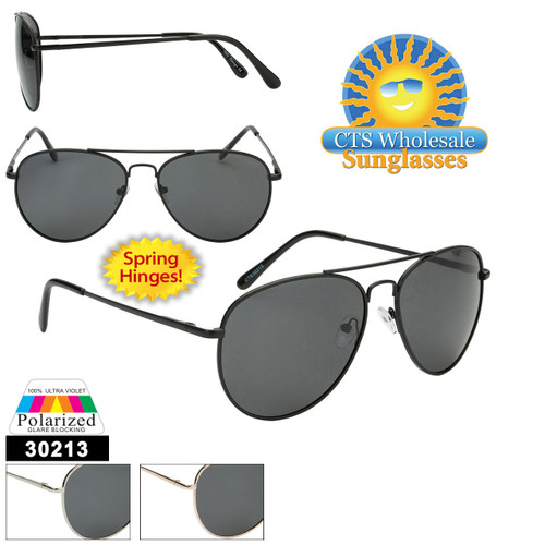 Wholesale Polarized Aviators  - Style #30213  Spring Hinge