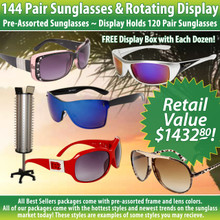 Package Deal 144 Pair Sunglasses & Rotating Floor Model Display SPA13 (12 dzn.+7049) Display Holds 120 Pair (Assorted Colors)
