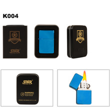 Metallic Blue Oil Lighter & Lighter Tin K004