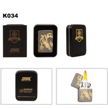 Dark Metallic Silver With Gold Dragon Etching K034