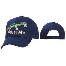 "Wholesale Navy Blue ""Bite Me"" Baseball Hat"