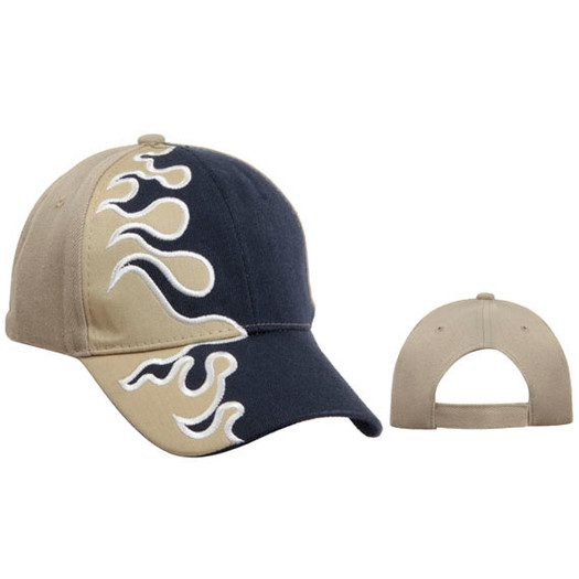 Wholesale Cap with Flames | Khaki & Navy Blue