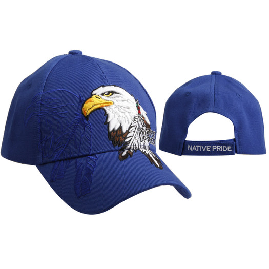"Wholesale Caps C6016 (1 pc.) ""Native Pride"" Bald Eagle with Feathers - Royal Blue"