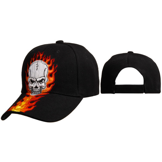 Wholesale Baseball Cap C6003 (1 pc.) Skull with Flames