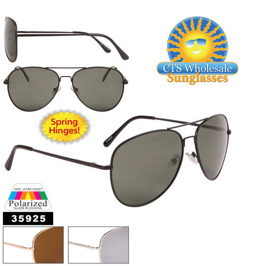 Polarized Wholesale Aviators - Style #35925 Spring Hinge