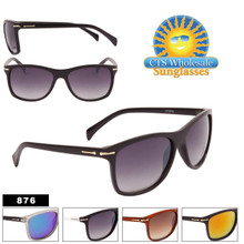 Square Sunglasses with Metal Accented Temples - Style #876