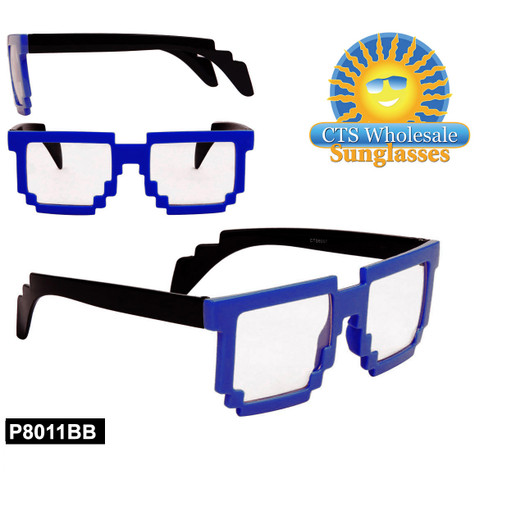 Blue Pixelated Clear Sunglasses - Style #P8011BB