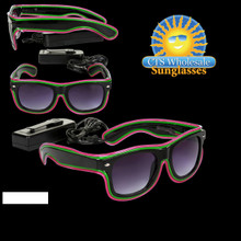 Hot Pink & Green LED Sunglasses LS001
