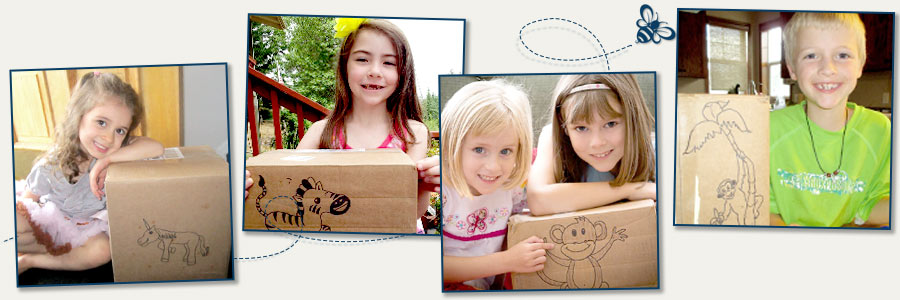 Kids with box art
