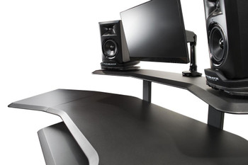 """Ultimate Support Nucleus Series - Studio Desk - Base model, 24"""" extension, 12 space rack, 2nd Tier, 4 space rack, Keyboard Tray"""