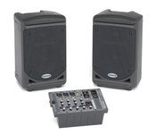 """Samson 6"""" Portable 2-way Monitors with Removable 5-channel Powered Mixer"""