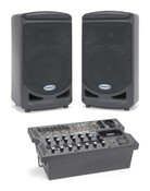 """Samson 8"""" Portable 2-way Monitors with Removable 8-channel Powered Mixer"""