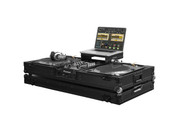 "Low Profile Glide Style DJ Coffin W/Whls for A 10"" Mixer & Two Turntables in Battle Position - Black"