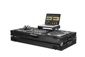 "Low Profile Glide Style DJ Coffin W/Whls for A 12"" Mixer & Two Turntables in Battle Position - Black"