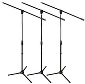 3-Pack Classic Series Microphone Stand with Three-way Adjustable Boom Arm and Stable Tripod Base