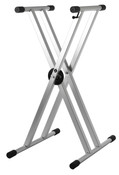 Strukture Double Braced Anodized Aluminum Keyboard Stand w/Trigger - Anodized Silver