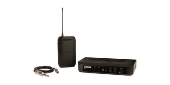 Shure Guitar Wireless System with (1) BLX4 Wireless Receiver, (1) BLX1 Bodypack Transmitter, and (1) WA302 Instrument Cable