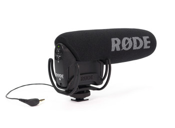 Stereo VideoMic Pro-R XY stereo condenser microphone with integrated Rycote shockmount, HPF and level control. Designed to connect directly to consumer video cameras and DSLRs.