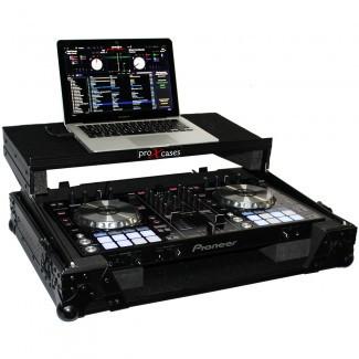 ProX Pioneer DDJ-RR / SR Case BLACK ON BLACK w/ Sliding Laptop Shelf