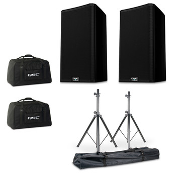 QSC K10.2 Powered Speaker Bundle with Stands and QSC Totes