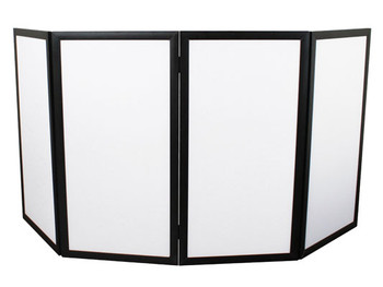 "Odyssey PRO DJ FACADE  48""W X 46""H  WHITE WITH A BLACK ALUMINUM FRAME"