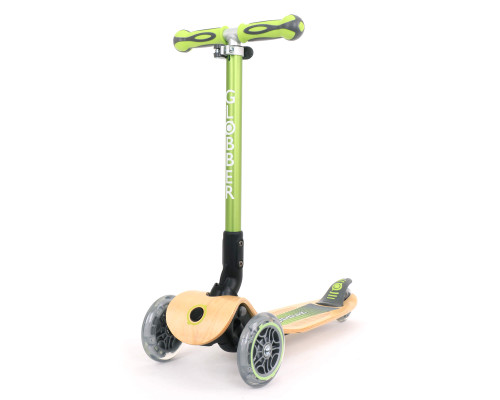 Globber Primo Wood Foldable Kids 3-Wheel Scooter | Green