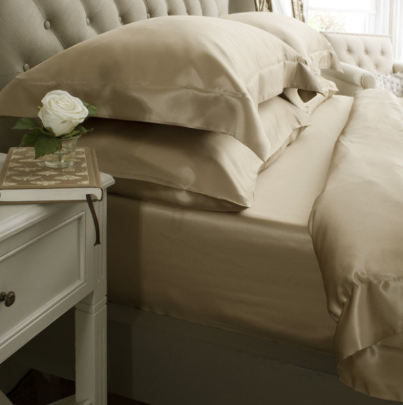 Silk Bed Linen Taupe - Jasmine Silk