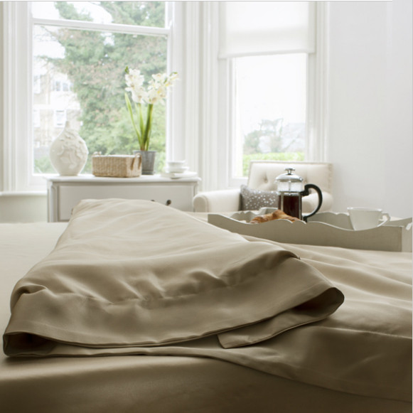 Silk Bed Linen Taupe Duvet Cover - Jasmine Silk