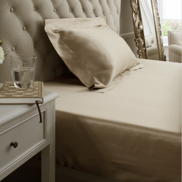 Silk Bed Linen Taupe Fitted Sheet - Jasmine Silk