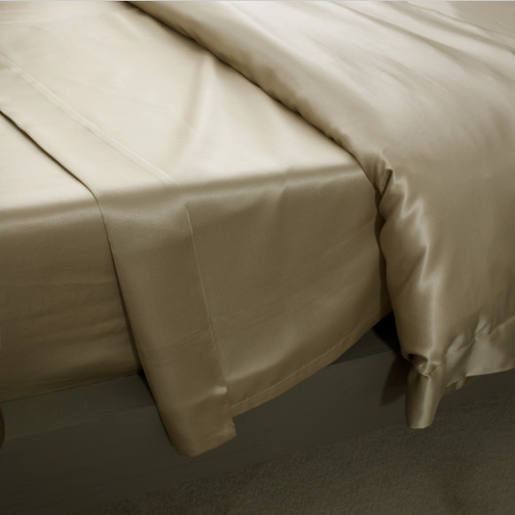 Silk Bed Linen Taupe Flat Sheet - Jasmine Silk