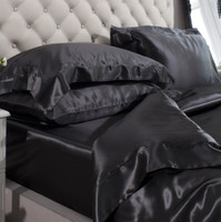 Silk Bed Linen Black - Jasmine Silk