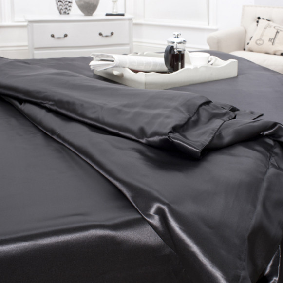 Silk Bed Linen Black Duvet Cover - Jasmine Silk