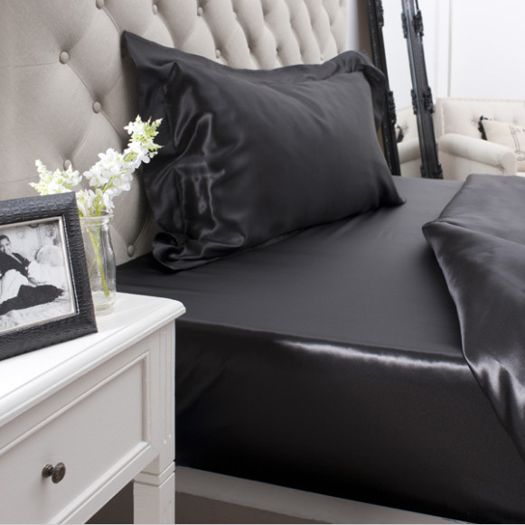 Silk Bed Linen Black Fitted Sheet - Jasmine Silk