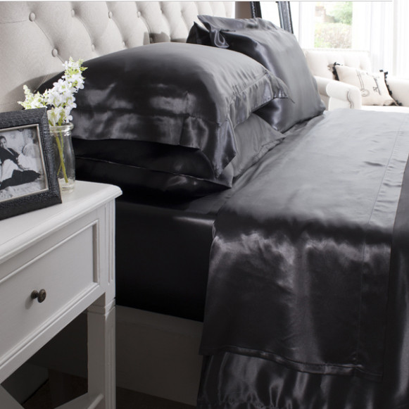 Silk Bed Linen Black Flat Sheet - Jasmine Silk